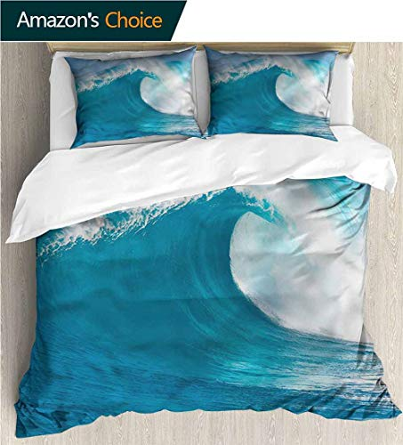 Kas Oriental Multi Waves - Modern Pattern Printed Duvet Cover,Box Stitched,Soft,Breathable,Hypoallergenic,Fade Resistant 100% Cotton Beding Linens For Kids Children-Ocean Clean Big Wave Windy Weather (90