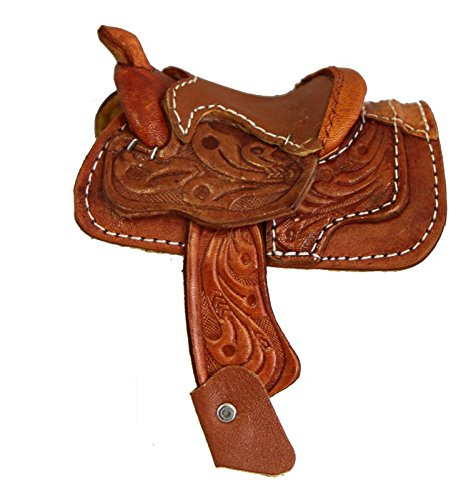 Miniature Western Saddle Genuine Tooled Leather 2