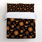 Beauty Decor Bedding 4 Piece bed Set Comfortable Soft Brushed Cotton,Sun and moon star Galaxy elements 4 Piece Bed Sheet Set Duvet Cover Flat Sheet and 2 Pillow Cases