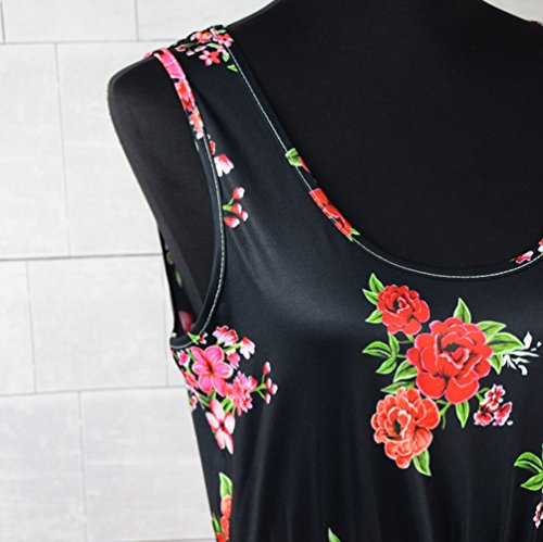 YOUJIA Boho Estampado Sin mangas Largo Vestido Redondo corte imperio Vestidos Maxi Hija y a mi #3 Floral