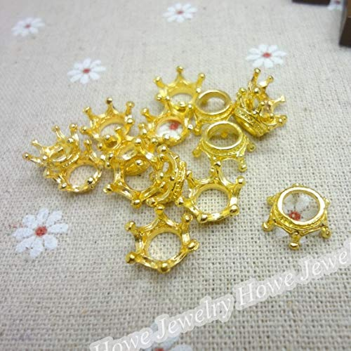 Vintage Styles Charm Imperial Crown Gold-Color Bracelets & Necklaces | DIY Metal Jewelry Making (100 Pcs) (Silver Pendants Imperial Finish)