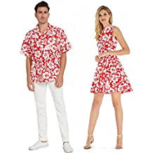 Couple Matching Hawaiian Luau Cruise Outfit Shirt Vintage Dress Classic White