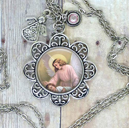 Angels Watch Over Us, Lovely Photo Image in Setting, Adorned with a Angel Charm and Pink Swarovski Crystal. Choose a Necklace, Backpack Clip, Key Chain or Purse Clip. Can be Worn or Hang in Your Home.