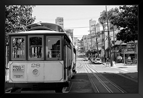 Cable Car in San Francisco California Black and White B&W Photo Art Print Framed Poster 20x14 ()