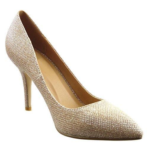 Sopily - damen Mode Schuhe Pumpe Stiletto glänzende - Gold