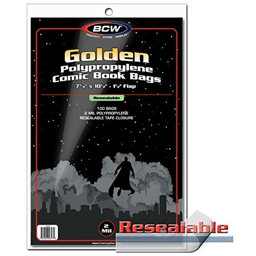 BCW 1-GOL-R Resealable Golden Comic Bags