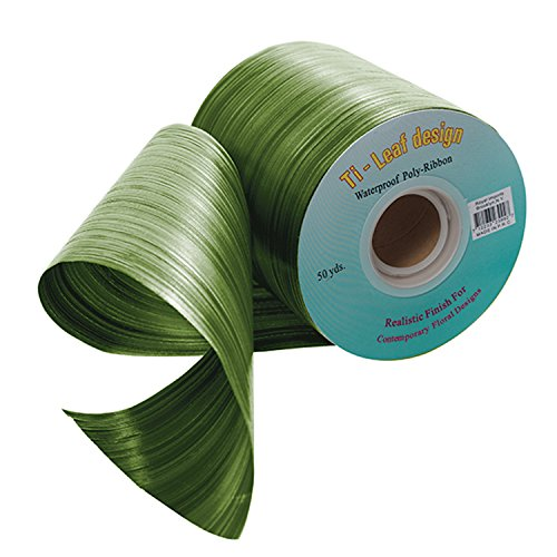 Glitter Holiday Bling Ribbon (Green Aspidistra Ti Leaf Pattern Poly Satin Waterproof Ribbon 4