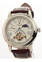 Croton Mens Imperial Brown Leather Automatic 24Hr Time Watch C1331070bsbr