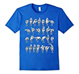 Mens ASL American Sign Language Hand Alphabet T-Shirt 2XL Royal Blue