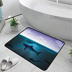 Anmaseven Kitchen Mat Bedroom Entrance Doormat Home Hallway Underwater,Wild Sharks Swimming in Sea Atlantic Ocean Peace Clouds Marine Design,Violet Petrol Blue 17x29 Inch