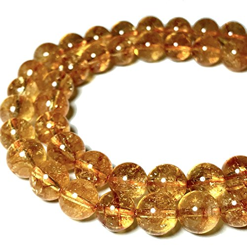 [ABCgems] Brazilian Citrine (Beautiful Inclusions- Grade AA) 8mm Smooth Round Beads ()