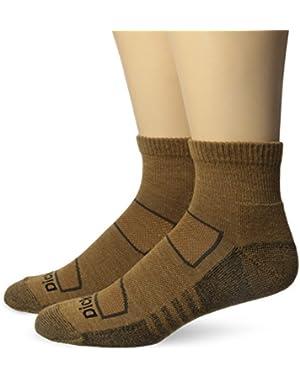 Men's 2 Pack All Season Merino Wool Light Cushion Quarter Socks