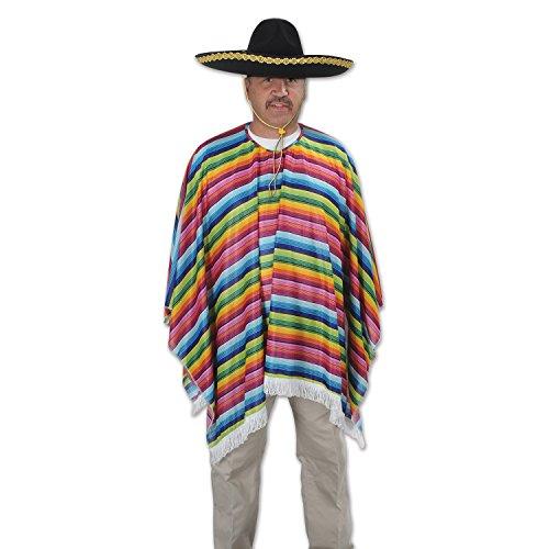 Multicolor High Quality Serape Poncho Adult Costume Accessory