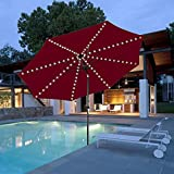 TTKTK Patio Umbrella String Light Remote Control 104 LED Copper Wire Decor Lights Battery Operated Warm White