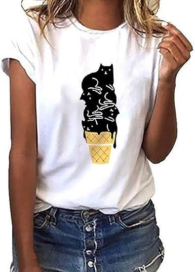 OPAKY Mujeres Niñas Tallas Grandes Camisetas con Estampado de Gatos Camisa de Manga Corta Camiseta Blusa Tops Mujer Camiseta con Cuello Redondo Camiseta Básica: Amazon.es: Ropa y accesorios