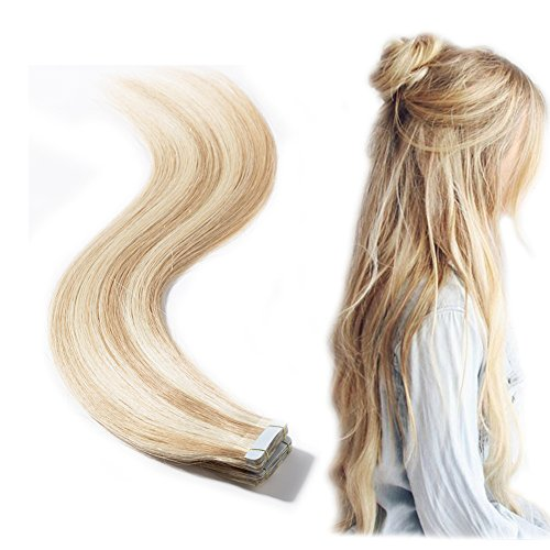 (Tape in Hair Extensions 100% Remy Human Hair 16