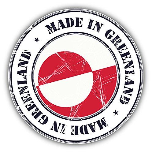 Made In Greenland Grunge Flag Stamp Art Decor Bumper Sticker 5'' x 5'' (Greenland Stamp)