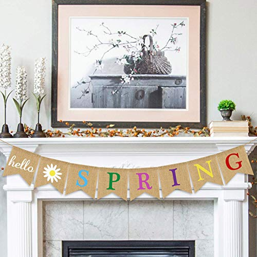 Hello Spring Banner Burlap - Rustic Spring Banner Garland - Spring Decorations - Indoor Outdoor Mantel Fireplace Hanging Decor ()