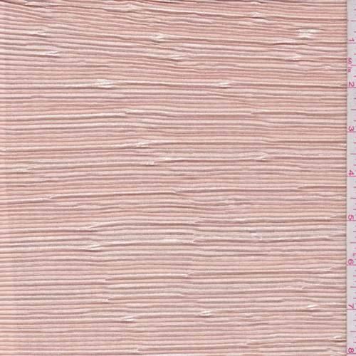 Peach Metallic Pleated Crepe de Chine, Fabric by The Yard
