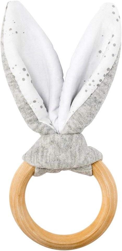 Madera y adorno de Conejo 100/% Coton 998260 14 x 7 x 2.5 cm Nattou PURE Anillo de dentici/ón 100/% algod/ón Gris