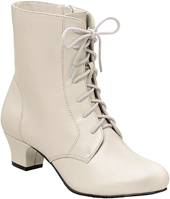 Vintage Boots- Buy Winter Retro Boots Angel Flex AmeriMark Jada Lace Up Ankle Boots - Low Heeled Boots for Women $45.98 AT vintagedancer.com