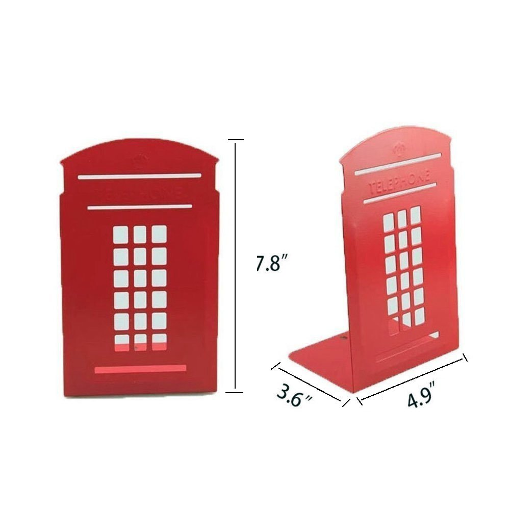Bookends Red Pair Non-Slip Heavy Metal Durable Sturdy Strong Books Organizer Telephone Booth Bookshelf Decor Decorative Bedroom Library Office School Supplies Stationery Gift (London-Red) by MerryNine