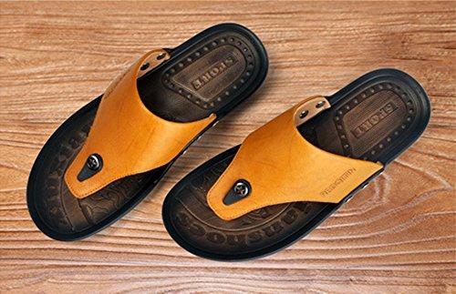 Mobnau Mens Läder Mode Rem Sandaler Flip Flops Gul
