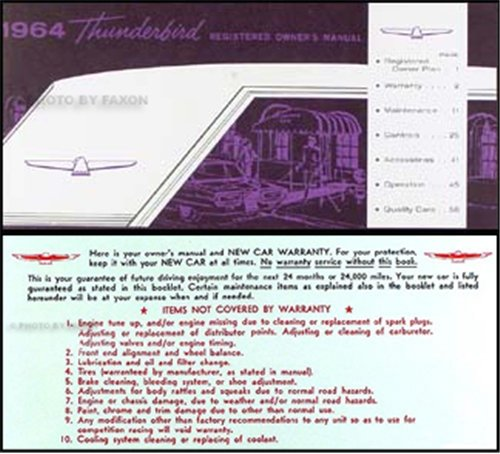 - 1964 Ford Thunderbird Owners Manual Reprint