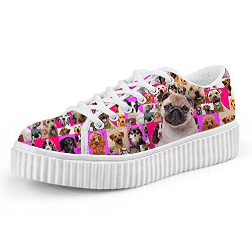 Bigcardesigns Womens Fashion Dogs Design Scarpe Casual High-sole Lace Up Pug