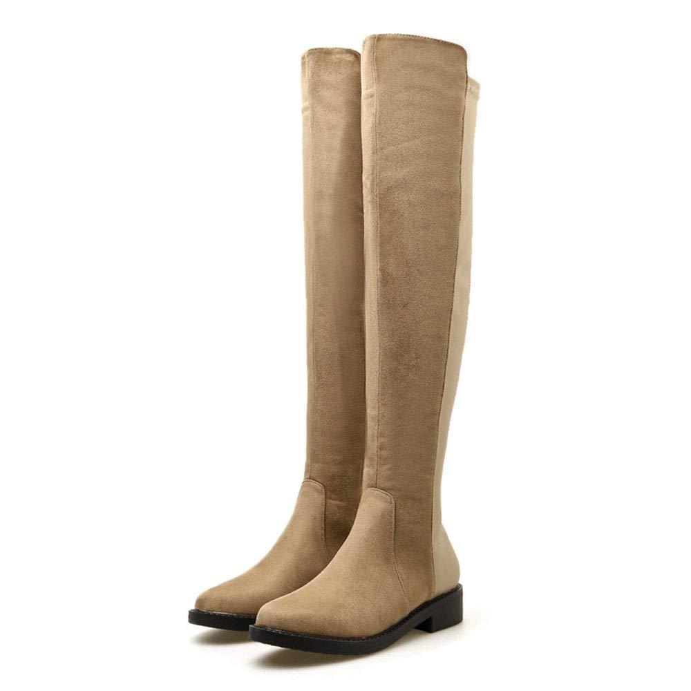 Sakuldes Damen-Overknee-Stiefel Damen-Overknee-Stiefel Damen-Overknee-Stiefel mit flachem Absatz und flachem Absatz (Farbe   Khaki, Größe   36) abc491
