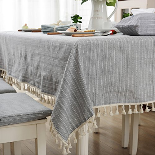 Modern simple cotton grey striped tablecloth party dining room wedding tablecloths rectangular