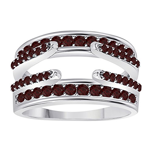 - Jewelryhub 14k White Gold Plated Combination Curved Style Cathedral Wedding Ring Guard Enhancer with CZ Red Garnet (1.10 ct. tw.)