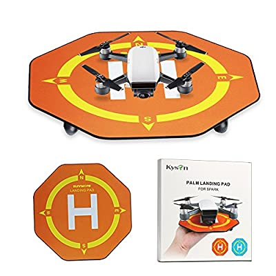 Drone Landing Pad,Kyson 6.6'' Mini Portable Palm Landing Pad Parking Apron Helipad for DJI SPARK,Mini Remote Control Helicopters and Quadcopters(Orange)