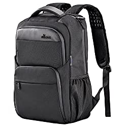 Laptop Backpack, BSISME Business Computer Bags with USB/Headphones Hole, Water Resistant College School Bookbag for Men Women Travel Backpack, Fits 15.6-Inch Laptop and Notebook (Black)