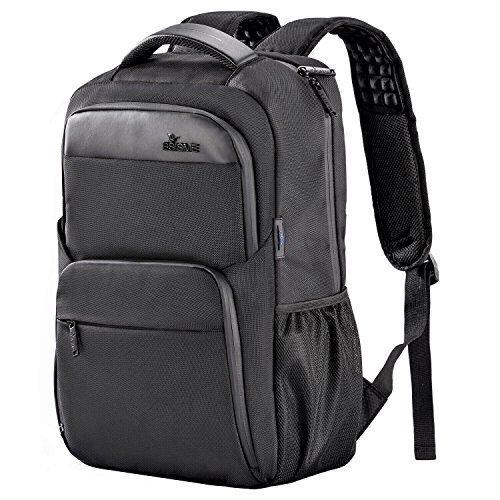Scratch Resistant Dvd (Laptop Backpack, BSISME Business Computer Bags with USB/Headphones Hole, Water Resistant College School Bookbag for Men Women Travel Backpack, Fits 15.6-Inch Laptop and Notebook (Black))