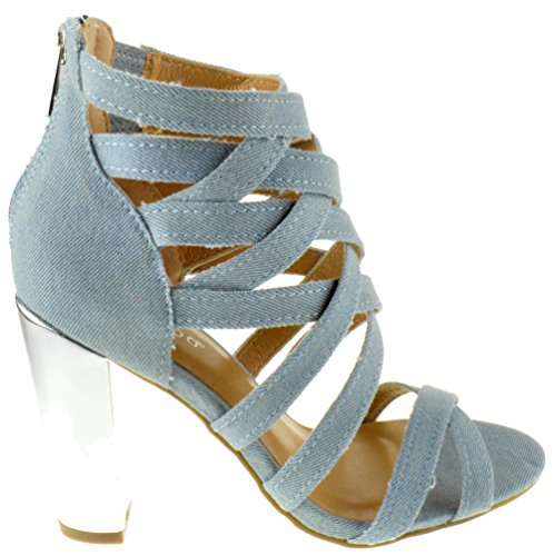 Bamboo Frenzy 07S Womens Srappy Criss Cross Denim Chunky Sandals Light Blue Denim Denim uqXLk6YL