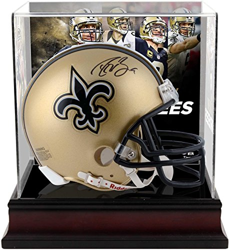 Drew Brees New Orleans Saints Autographed Riddell Mini Helmet with Deluxe Mini Helmet Case - Fanatics Authentic Certified