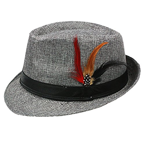 Silver Fever Felt Fedora Hat with Feathers