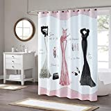 Pink and Gold Shower Curtain DS BATH Haute Pink Shower Curtain,Fabric Shower Curtain,Print Shower Curtains for Bathroom,Bathroom Curtains,Waterproof Polyester Shower Curtain,72