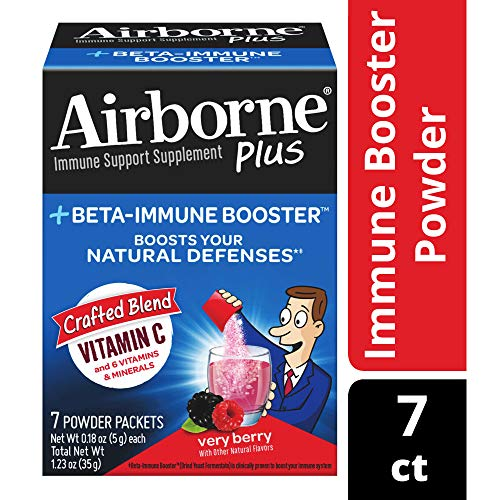 Airborne Plus Beta-Immune Booster Powder Packets, Very Berry, 7 Count per pack, 1.23 Ounce
