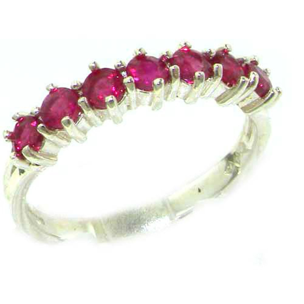 925 Sterling Silver Real Genuine Ruby Womens Eternity Ring - Size 7