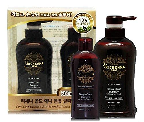 Price comparison product image Richenna Gold Henna Clinic Shampoo with Oriental Herb Formula - anti dandruff anti itch scalp - herbal shampoo