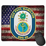 USS Paul Hamilton DDG-60 and American Flag Mouse Pads Non-Slip Gaming Mouse Pad Mousepad