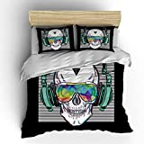 SHOMPE Music Skull Bedding Sets Twin Size,Kids White Stripes Punk Rocker Headphones Skull Duvet Cover Set with Pillowcases for Teens Boys Girls,NO Comforter
