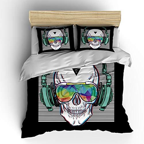 SHOMPE Music Skull Bedding Sets Queen Size,Kids White