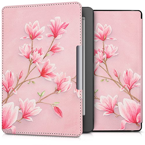 kwmobile Case Compatible with Kobo Aura Edition 2 - PU e-Reader Cover - Magnolias Light Pink/White/Dusty Pink