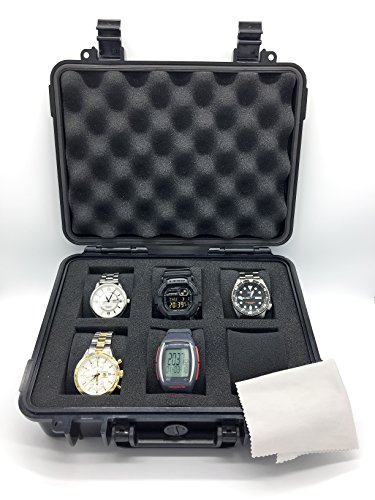 ModernGen 6 Slot Watch Case For Men - Heavy Duty Plastic Impact Resistant Waterproof