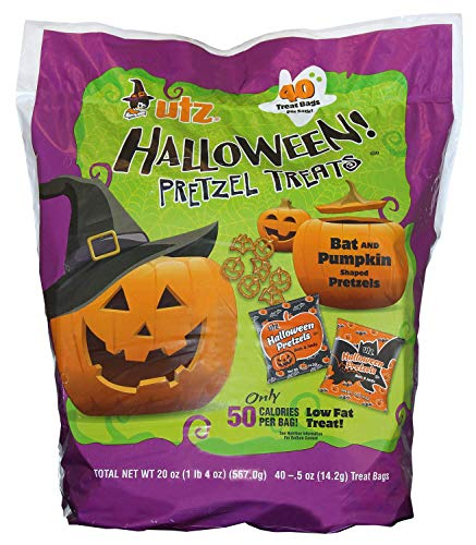 Utz Halloween Snack Pack Bags-18 Individual Cheddar Cheese Curls or 40 Individual Pretzel Treats (40 Count Pretzel Treats, 1 Bag)