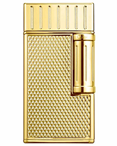 Julius Traditional Flame Cigar Lighter in an Attractive Gift Box with Leather Pouch Warranty Polished Gold by Colibri
