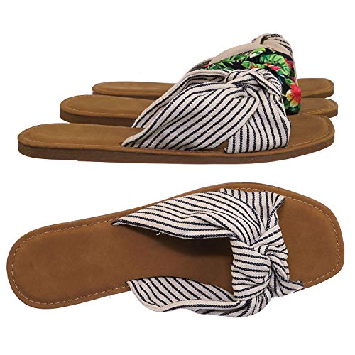 Slide in Slippers w Knotted Sandal - Women's Floral Stripe Linen Shoes